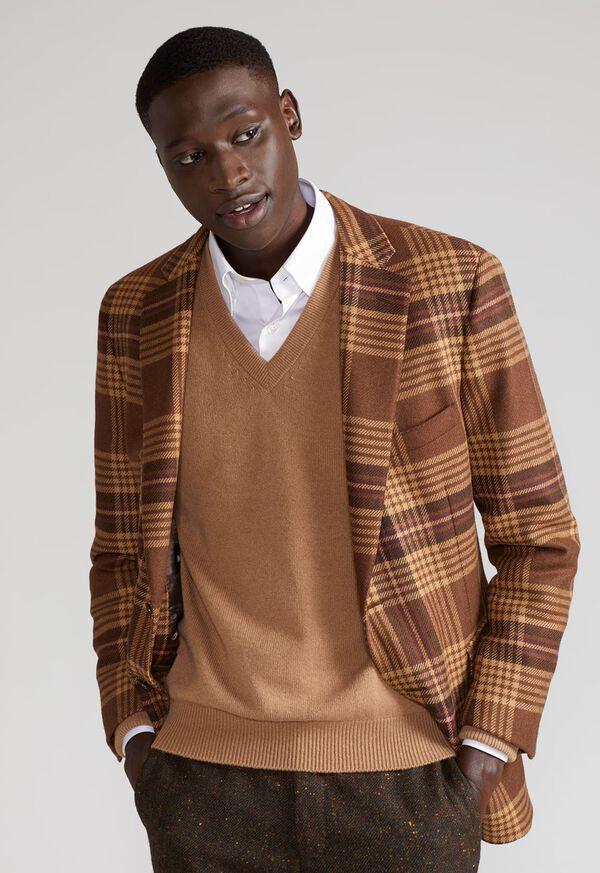 Soft Shoulder Wool Blend Plaid Sport Jacket, image 6