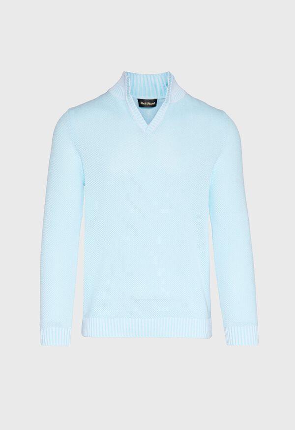 Cotton Open Collar Birdseye Stitch Sweater