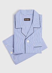 Narrow Stripe Pajamas with Navy Piping, thumbnail 1