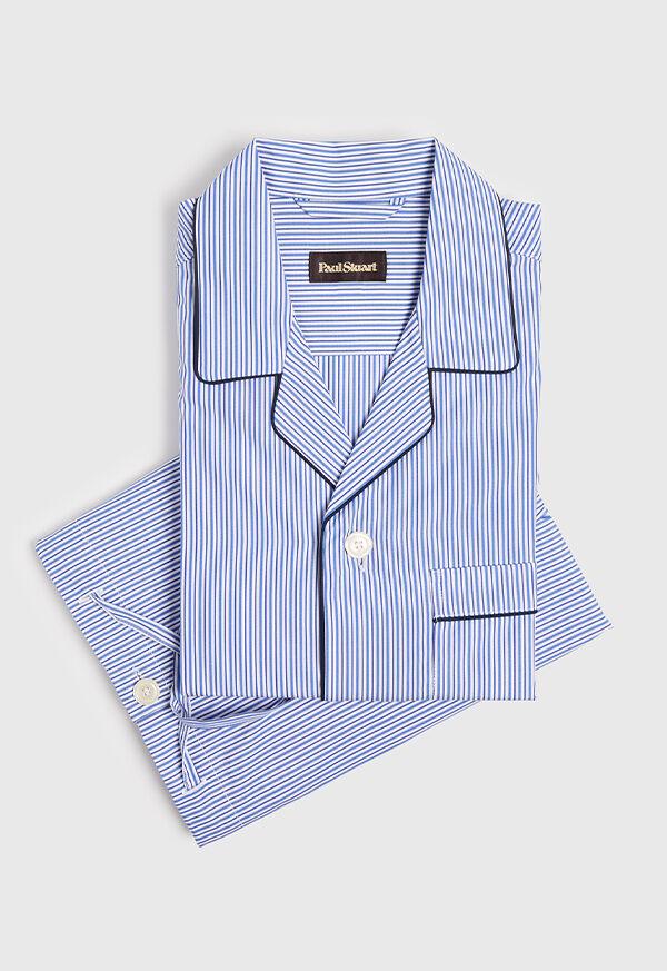 Narrow Stripe Pajamas with Navy Piping, image 1