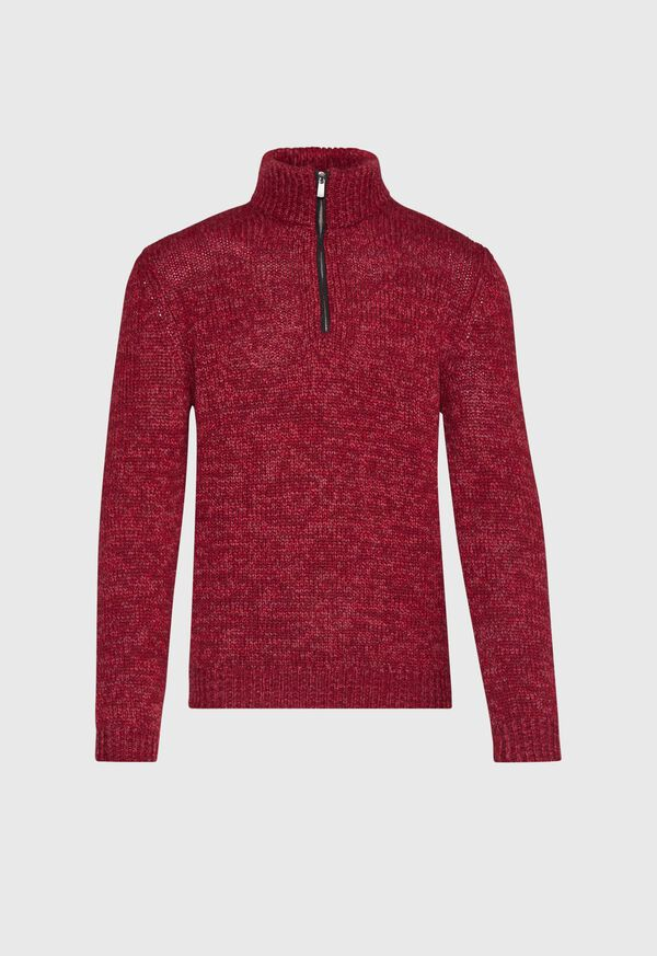 Mouline Quarter Zip with Suede Trim Sweater, image 1