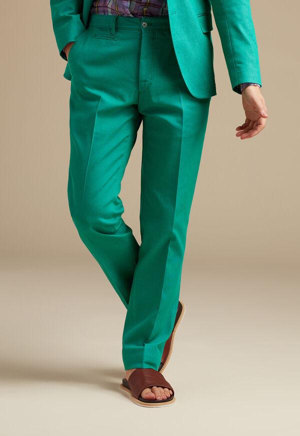 Green Cotton Blend Denim Pant, image 2