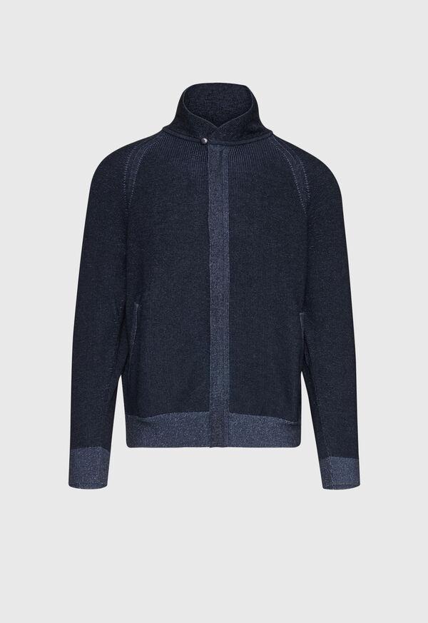 Cotton Full Zip Ribbed Cardigan, image 1