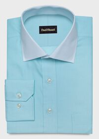 Contrast Collar Cotton Twill Dress Shirt, thumbnail 1