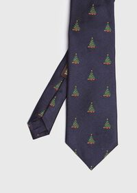 Navy Christmas Tree Hioliday Tie, thumbnail 1