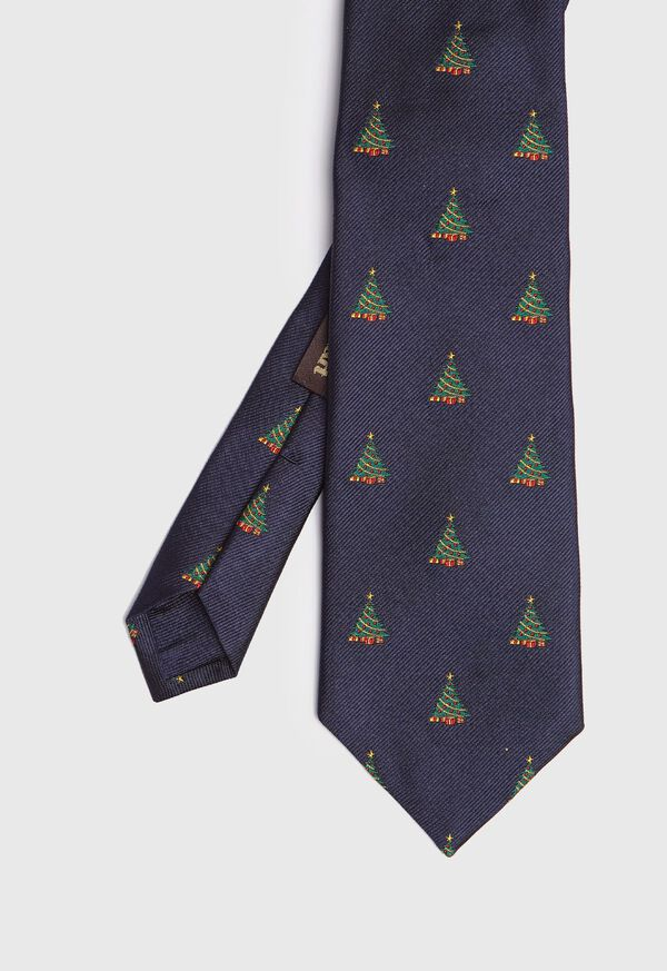 Navy Christmas Tree Hioliday Tie, image 1