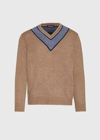 Lambswool Sweater with Grey V-Neck, thumbnail 1