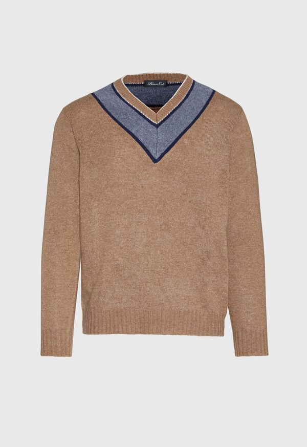 Lambswool Sweater with Grey V-Neck, image 1