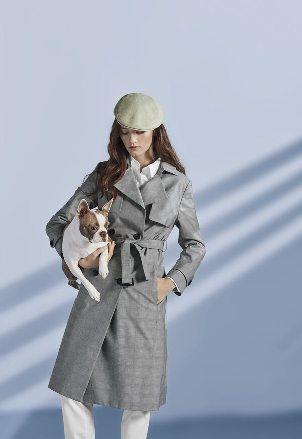 Plaid Trench Coat with Raker, image 2