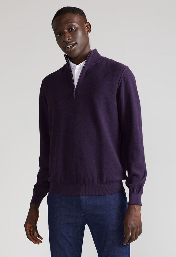Rice Stitch Quarter Zip Sweater, image 2