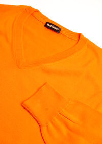 Pima Cotton V-Neck Sweater, thumbnail 2