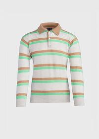 Cashmere Double Collar Stripe Polo, thumbnail 1