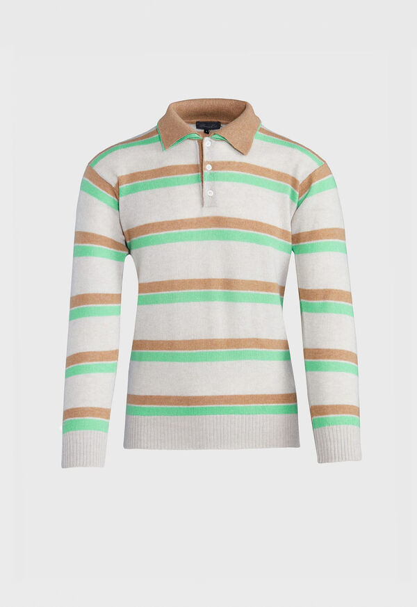 Cashmere Double Collar Stripe Polo, image 1