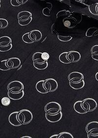 Black & White Ring Print Linen Shirt, thumbnail 2