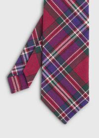 Purple Tartan Wool Tie, thumbnail 1