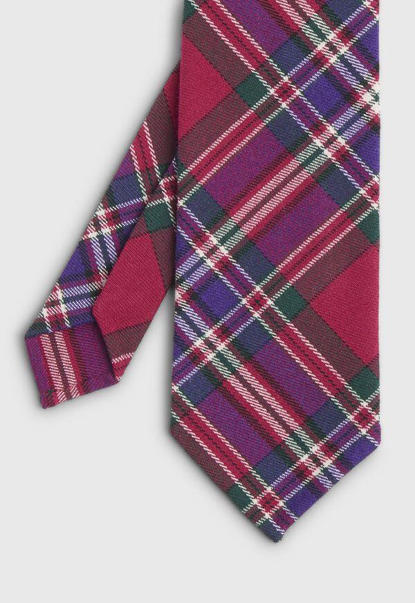 Purple Tartan Wool Tie, image 1