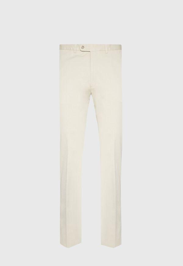 Khaki Cotton Stretch Newton Plain Front Pant, image 1