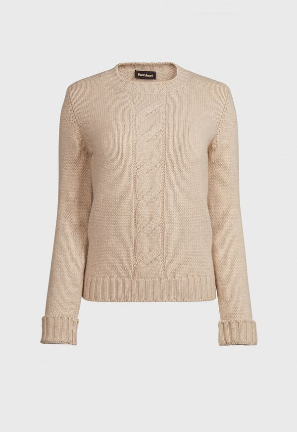 Wool and Cashmere Blend Crewneck Sweater with Center Cable Detail