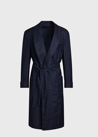 Navy with Light Blue Graph Check Wool Robe, thumbnail 1