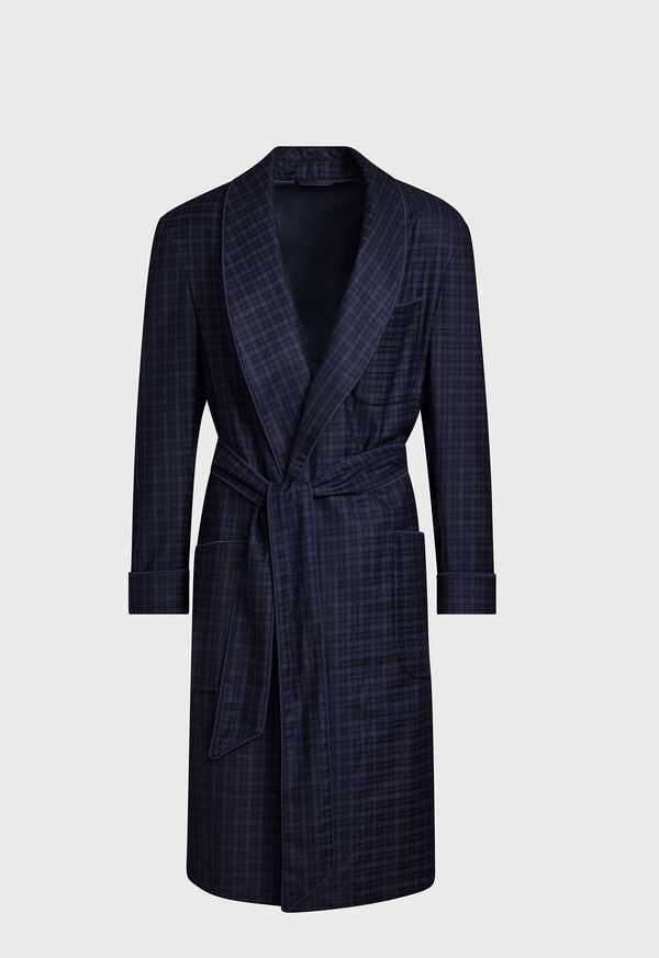 Navy with Light Blue Graph Check Wool Robe, image 1