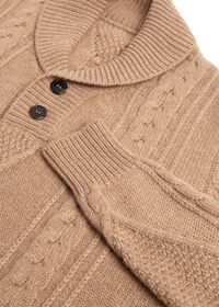 Cashmere Cable Knit Shawl Collar Pullover, thumbnail 3