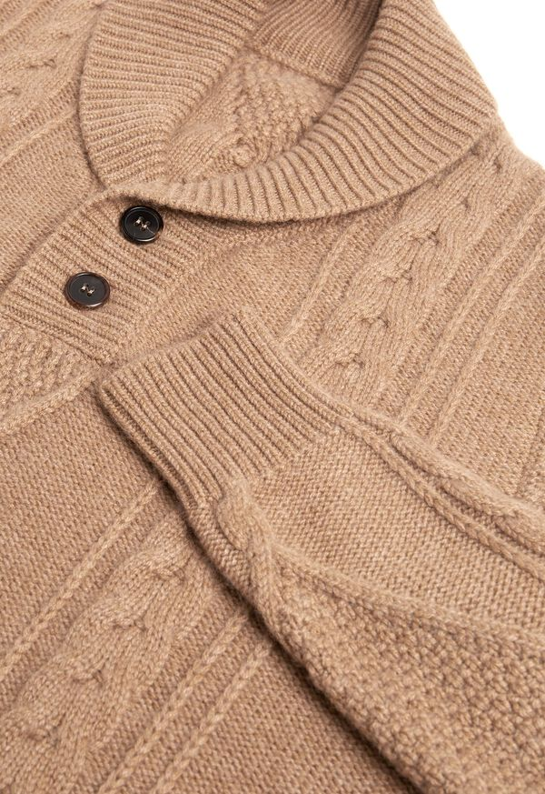Cashmere Cable Knit Shawl Collar Pullover, image 3