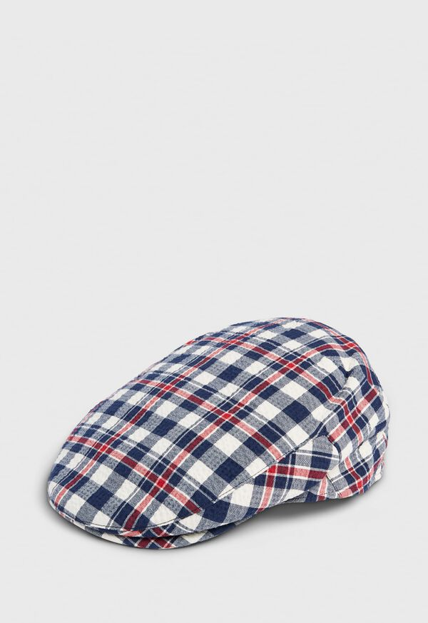 Linen Check Flat Cap, image 1