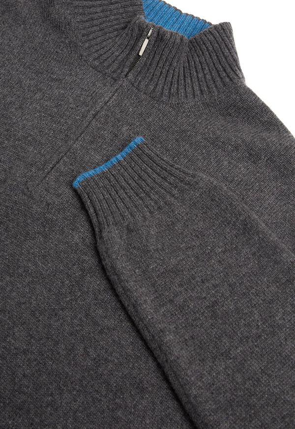 Cashmere Quarter Zip Mock Neck Sweater, image 2