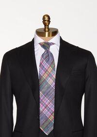 Indigo Plaid Printed Linen Tie, thumbnail 2