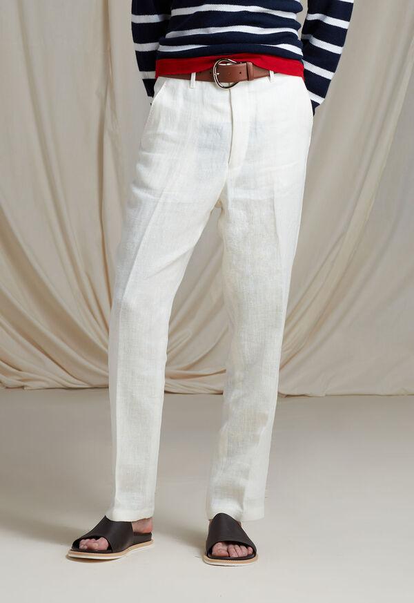 White Linen Blend Trouser, image 2