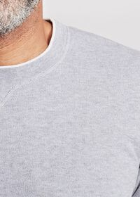 Cotton Crewneck Sweater with Contrast Tipping, thumbnail 2