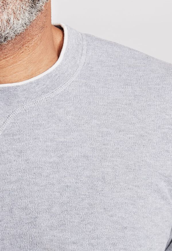 Cotton Crewneck Sweater with Contrast Tipping, image 2