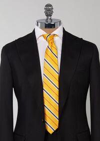 Silk Yellow Deco stripe Skinny Tie, thumbnail 2