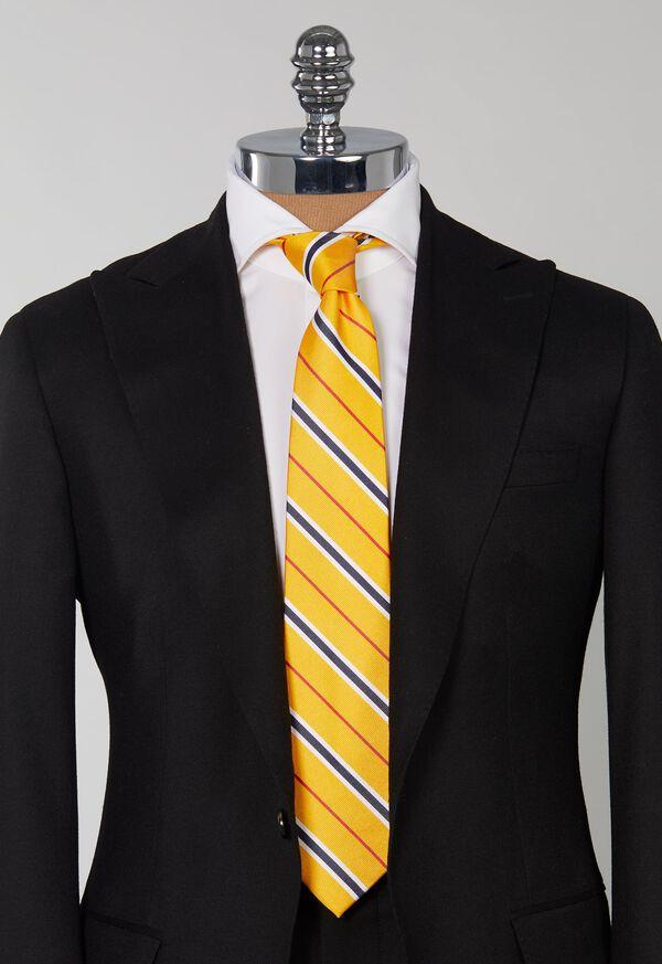 Silk Yellow Deco stripe Skinny Tie, image 2