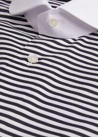 Horizontal Stripe Round Collar Shirt, thumbnail 2