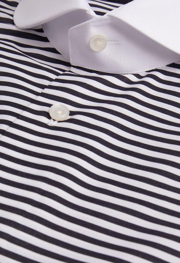 Horizontal Stripe Round Collar Shirt, image 2