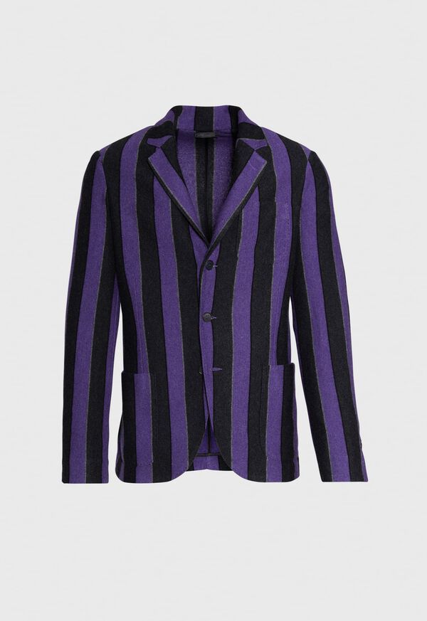 Rice Stitch Merino Wool Stripe Blazer, image 1