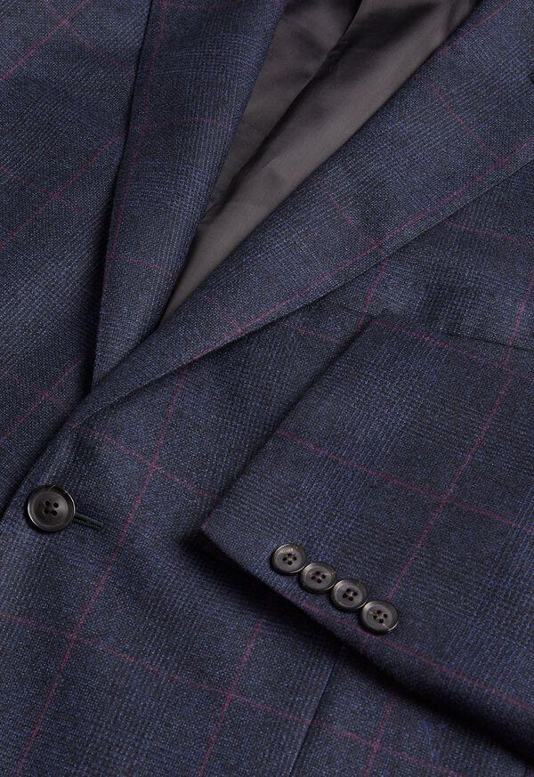 Navy Plaid Soft Shoulder Suit, image 5