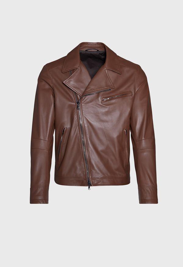 Leather Embroidered Motorcycle Jacket, image 1