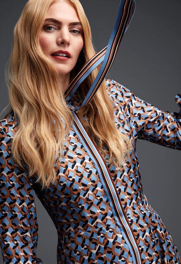 Abstract Print Silk Dress, image 2