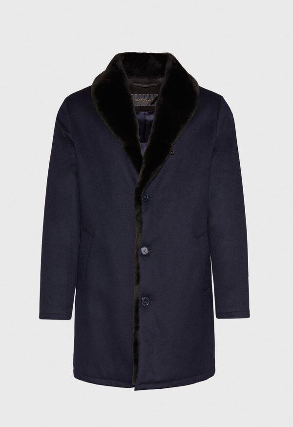 Cashmere Coat with Fur Lapel, image 1