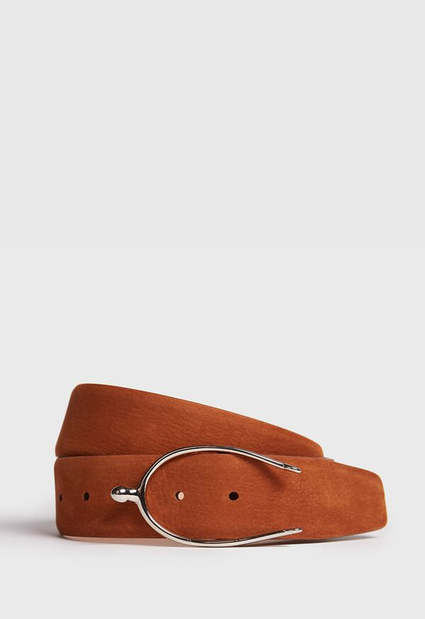 Nubuck Belt with Equestrian Buckle, image 1