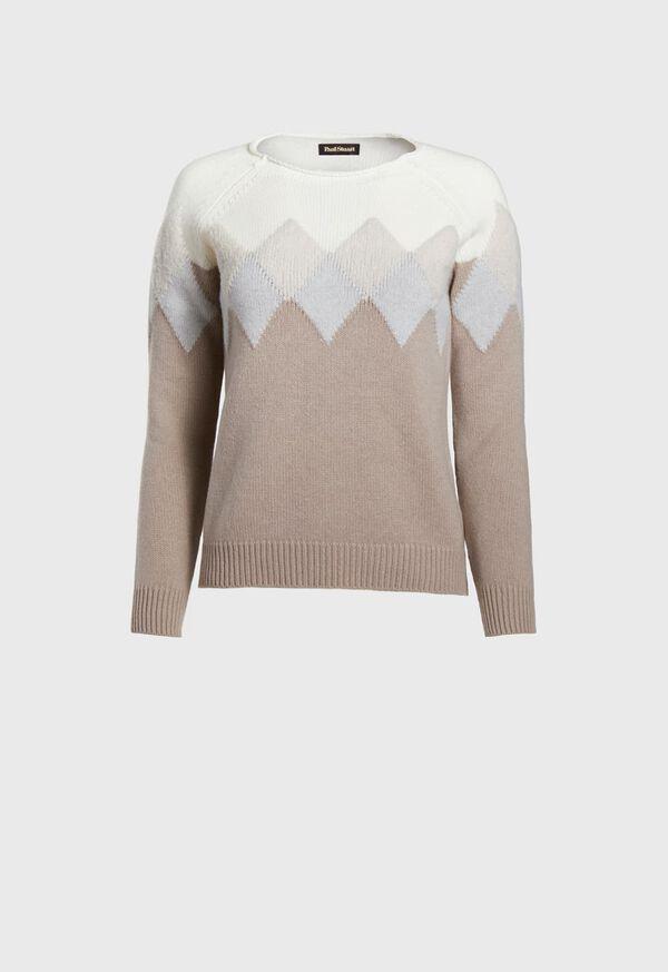 Wool Blend Diamond Pattern Sweater, image 1
