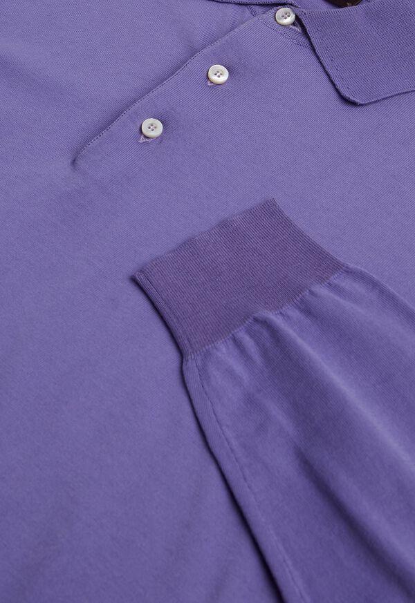 Long Sleeve Cotton Polo Shirt, image 3