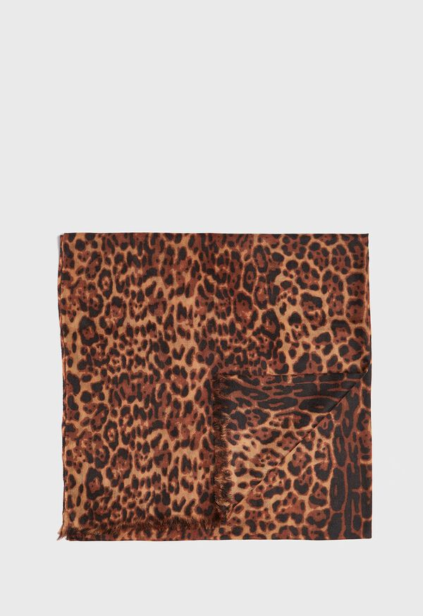 Leopard Print Lightweight Cashmere Scarf, image 1