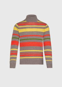 Cashmere Multi Color Stripe Turtleneck, thumbnail 1