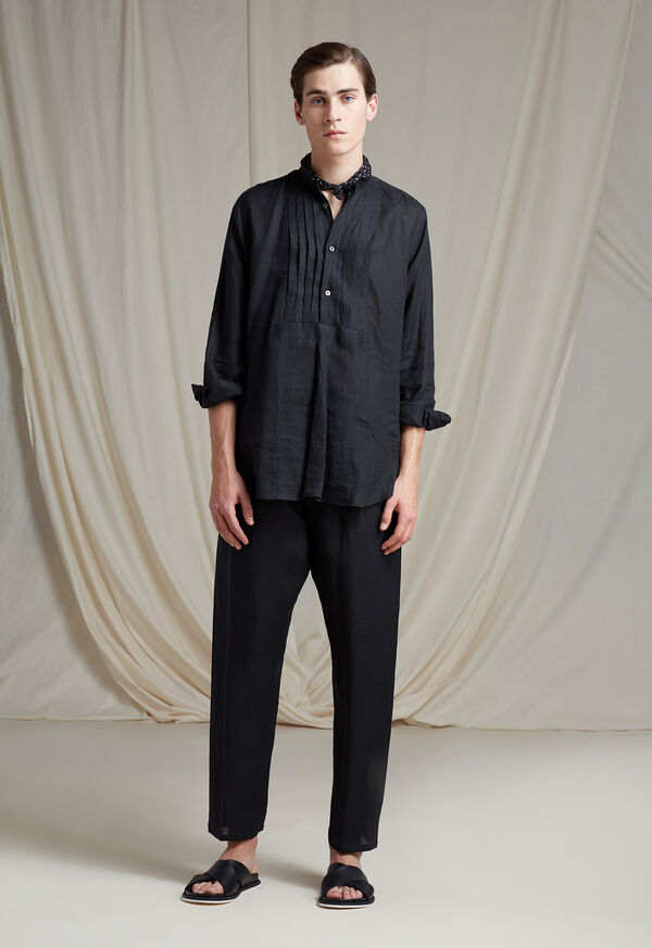 Black Linen Pleated Pull Over Lounge Set, image 2