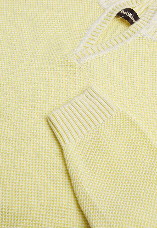 Cotton Open Collar Birdseye Stitch Sweater, image 2