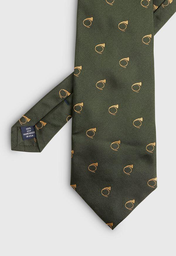 Bugle Motif Stripe Silk Tie, image 2