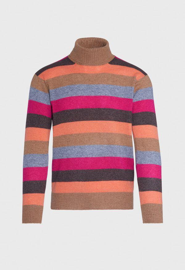 Cashmere Multi-Stripe Turtleneck Sweater, image 1